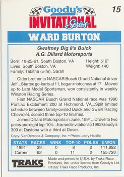 1992 Traks Goody's #15 Ward Burton Back