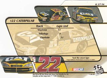 2001 Press Pass Stealth - Lap Leaders #LL27 Ward Burton's Car Back