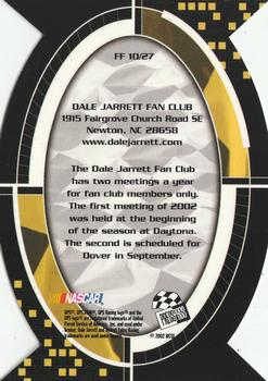 2002 Press Pass Optima - Fan Favorite #FF10 Dale Jarrett Back