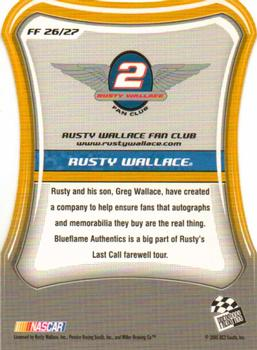 2005 Press Pass Optima - Fan Favorite #FF26 Rusty Wallace Back