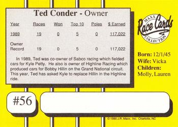 1990 Maxx #56 Ted Conder Back