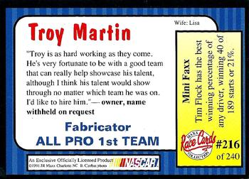 1991 Maxx #216 Troy Martin Back
