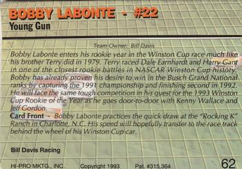 1993 Action Packed #62 Bobby Labonte Back