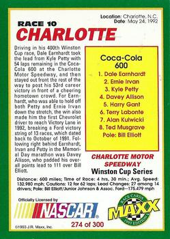 1993 Maxx #274 Dale Earnhardt / Dale Earnhardt Jr. / Kerry Earnhardt Back