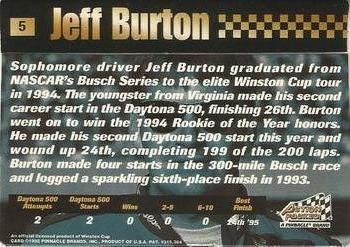 1995 Action Packed Stars #5 Jeff Burton Back