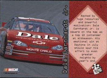 2001 Press Pass Optima #5 Dale Earnhardt Jr. Back