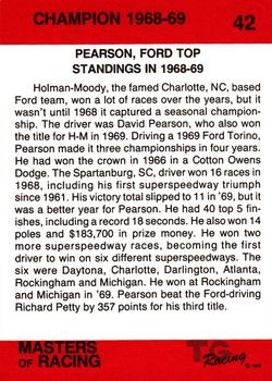 1989-90 TG Racing Masters of Racing #42 David Pearson Back