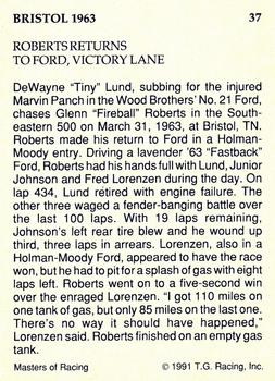 1991-92 TG Racing Masters of Racing Update #37 Tiny Lund/Fireball Roberts' Cars Back