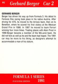 1991 Carms Formula 1 #6 Gerhard Berger Back