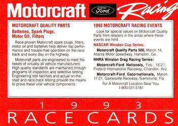 1993 Motorcraft #NNO1 Cover Card Back