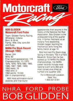 1993 Motorcraft #NNO3 Bob Glidden Back