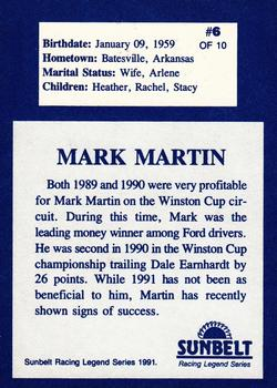 1991 Sunbelt Racing Legends #6 Mark Martin Back