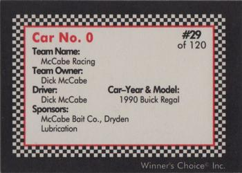 1991 Winner's Choice New England #29 Dick McCabe's Car Back