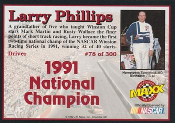 1992 Maxx 5th Anniversary #78 Larry Phillips Back