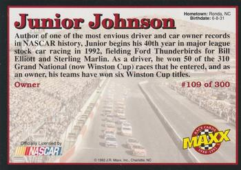 1992 Maxx 5th Anniversary #109 Junior Johnson Back