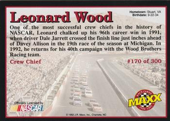 1992 Maxx 5th Anniversary #170 Leonard Wood Back