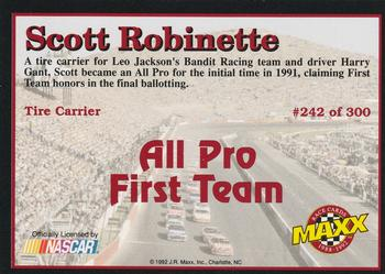 1992 Maxx 5th Anniversary #242 Scott Robinette Back