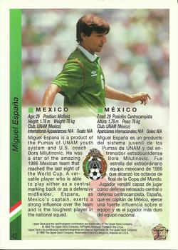 1993 Upper Deck World Cup Preview English/Spanish #42 Miguel España Back