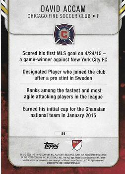 2015 Topps Apex MLS #89 David Accam Back