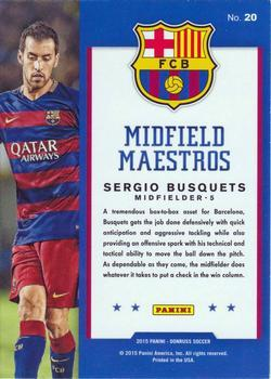2015 Donruss - Midfield Maestros Red Soccer Ball #20 Sergio Busquets Back