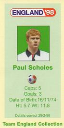 1998 BP England '98 #NNO Paul Scholes Back