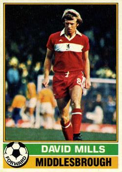 TOPPS-FOOTBALL -#167- MIDDLESBROUGH DAVID MILLS RED BACK 1977
