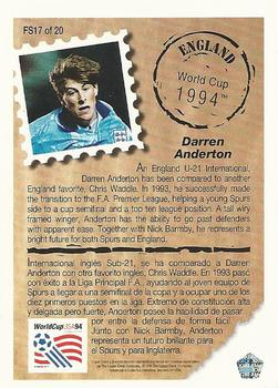1993 Upper Deck World Cup Preview English/Spanish - Future Stars #FS17 Darren Anderton Back