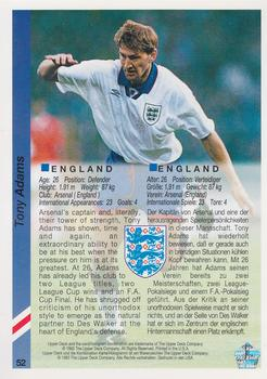 1993 Upper Deck World Cup Preview English/German #52 Tony Adams Back