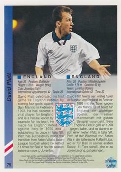 1993 Upper Deck World Cup Preview English/German #75 David Platt Back