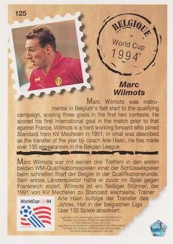 1993 Upper Deck World Cup Preview English/German #125 Marc Wilmots Back