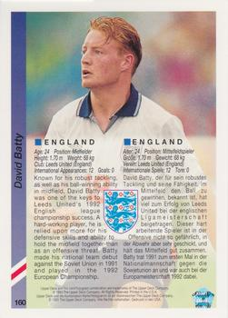 1993 Upper Deck World Cup Preview English/German #160 David Batty Back