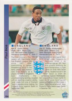 1993 Upper Deck World Cup Preview English/German #184 Paul Ince Back