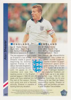 1993 Upper Deck World Cup Preview English/German #187 Alan Shearer Back
