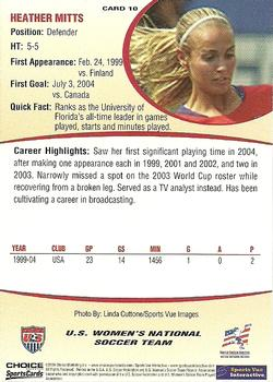 2004 Choice US Women's National Soccer Team #10 Heather Mitts Back