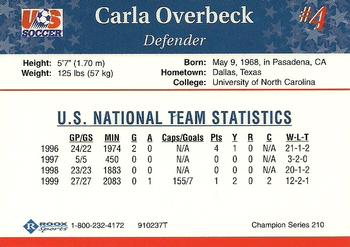 1999 Roox US Women's National Team #910237T Carla Overbeck Back
