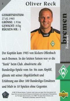 1997 Upper Deck Werder Bremen Box Set #1 Oliver Reck Back