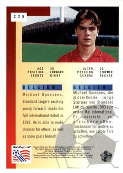 1994 Upper Deck World Cup Contenders English/German #229 Michael Goossens Back