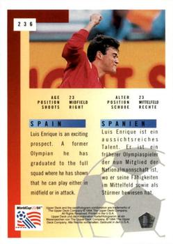 1994 Upper Deck World Cup Contenders English/German #236 Luis Enrique Back