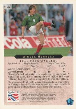 1994 Upper Deck World Cup Contenders English/Spanish #35 Miguel Herrera  Back