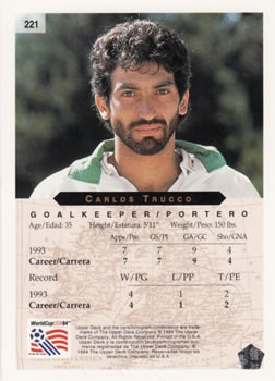 1994 Upper Deck World Cup Contenders English/Spanish #221 Carlos Trucco Back