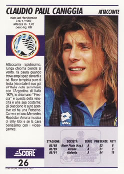1992 Score Italian League #26 Claudio Paul Caniggia Back