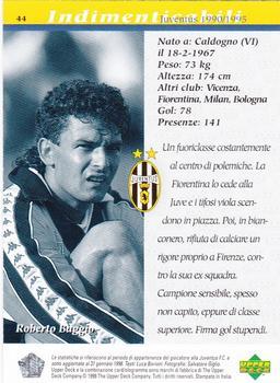 eb3b15b3e 1998 Upper Deck Juventus F C  44 Roberto Baggio Back