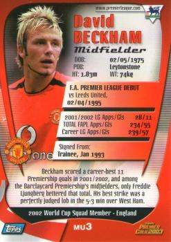 2002-03 Topps Premier Gold 2003 #MU3 David Beckham Back