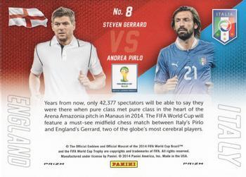 PANINI PRIZM wold cup 2014 matchs #8 Andrea Pirlo et Steven Gerrard