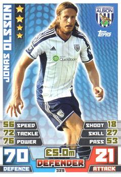 MATCH ATTAX 2014 2015 football card West Bromwich Albion JONAS OLSSON Defender