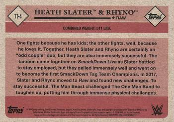 2018 Topps WWE Heritage - Tag Teams and Stables #TT-4 Heath Slater / Rhyno Back