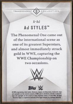 2019 Topps WWE Transcendent Collection #A-AJ AJ Styles Back