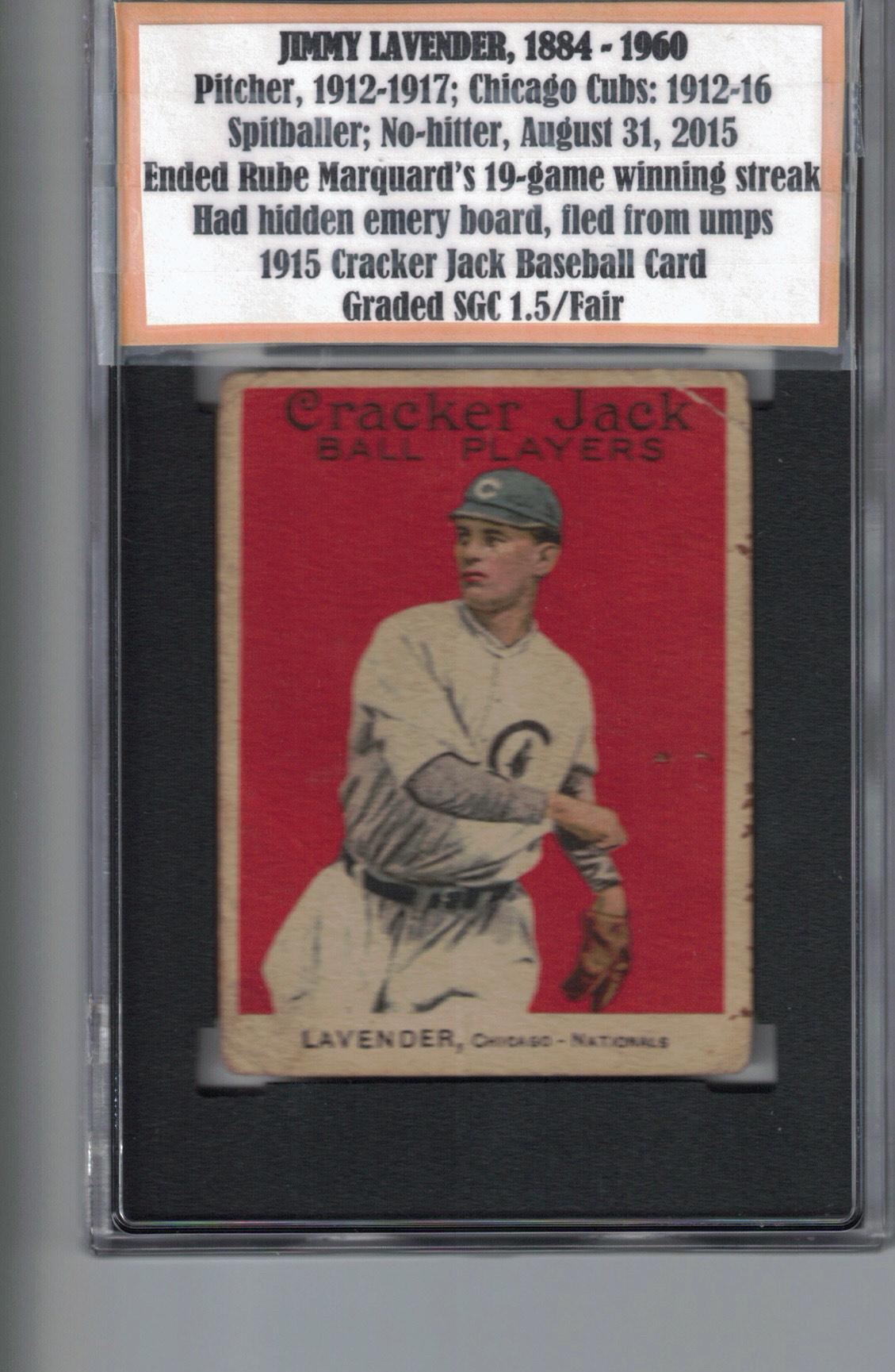 1915 Cracker Jack (E145) #105 Jimmy Lavender Front